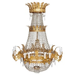 Large French Empire Style Glass and Gilt Bronze 18-Light Chandelier