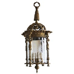 Large French Empire Style Solid Gild Bronze Four-Light Lantern, Chandelier