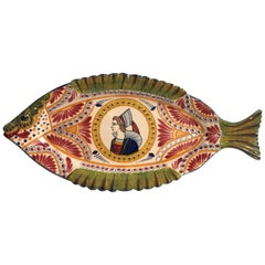 Large French Faience Fish Platter Quimper Circa 1930