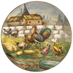 Large French Faience Platter with Farmyard Scene, circa 1890