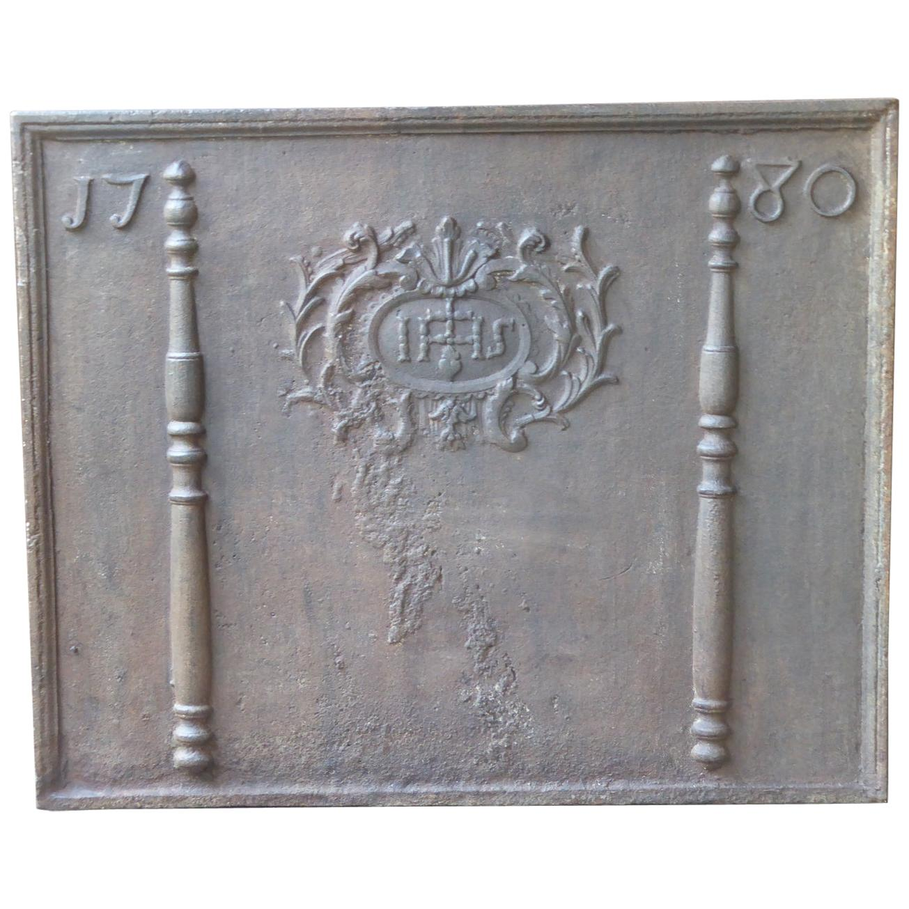Large French Fireback with Pillars and IHS Monogram, Dated 1780