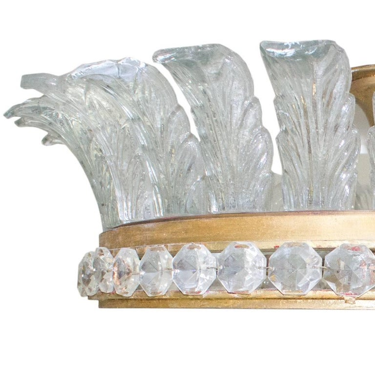Hollywood Regency Large French Gilded Bronze, Crystal and Glass Flush Mount Fixture For Sale