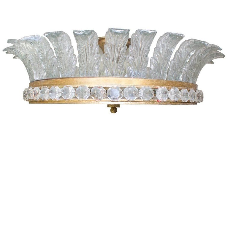 Large French Gilded Bronze, Crystal and Glass Flush Mount Fixture For Sale