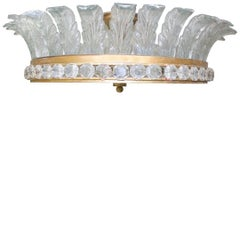 Large French Gilded Bronze, Crystal and Glass Flush Mount Fixture
