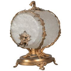 Large French Gilt Bronze and Frosted Glass Wine Barrel, circa 1890