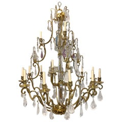 Large French Gilt Bronze and Rock Crystal Chandelier