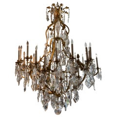 Large French Gilt Bronze Chandelier with Large Crystal and 24 Lights