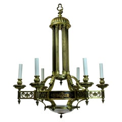 Large French Gilt Bronze Neoclassical Chandelier
