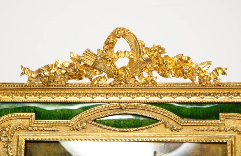 Large French Gilt Bronze Ormolu and Green Guilloche Enamel Picture Photo Frame In Good Condition For Sale In New York, NY