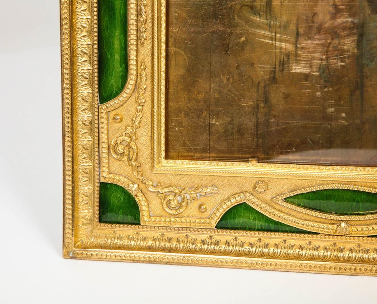 19th Century Large French Gilt Bronze Ormolu and Green Guilloche Enamel Picture Photo Frame For Sale