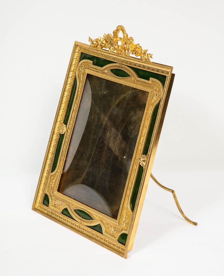 Large French Gilt Bronze Ormolu and Green Guilloche Enamel Picture Photo Frame For Sale 2