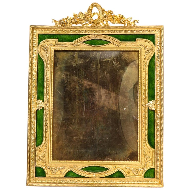 Large French Gilt Bronze Ormolu and Green Guilloche Enamel Picture Photo Frame For Sale