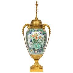 Large French Gilt-Bronze Ormolu-Mounted Chinese Famille-Verte Porcelain Vase