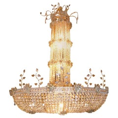 Large French Gilt Chandelier with Crystals