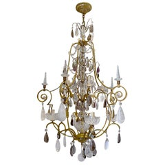 Large French Gilt Chandelier with Rock Crystal Pendants