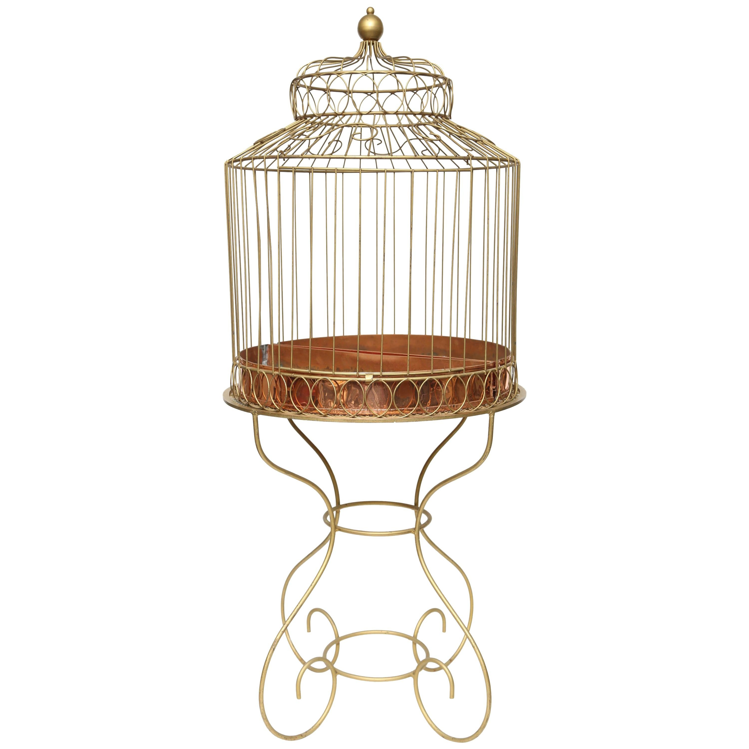 Mid-20th Century French Bird Cage on Stand-Gilt Metal and Copper