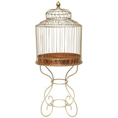 Large Mid-20th Century French Bird Cage on Stand-Gilt Iron and Copper