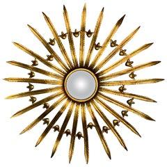 Large French Gilt Metal Sunburst Mirror