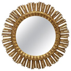 Large French Gilt Starburst or Sunburst Mirror