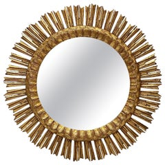Large French Gilt Starburst or Sunburst Mirror (Diameter 24 1/4)