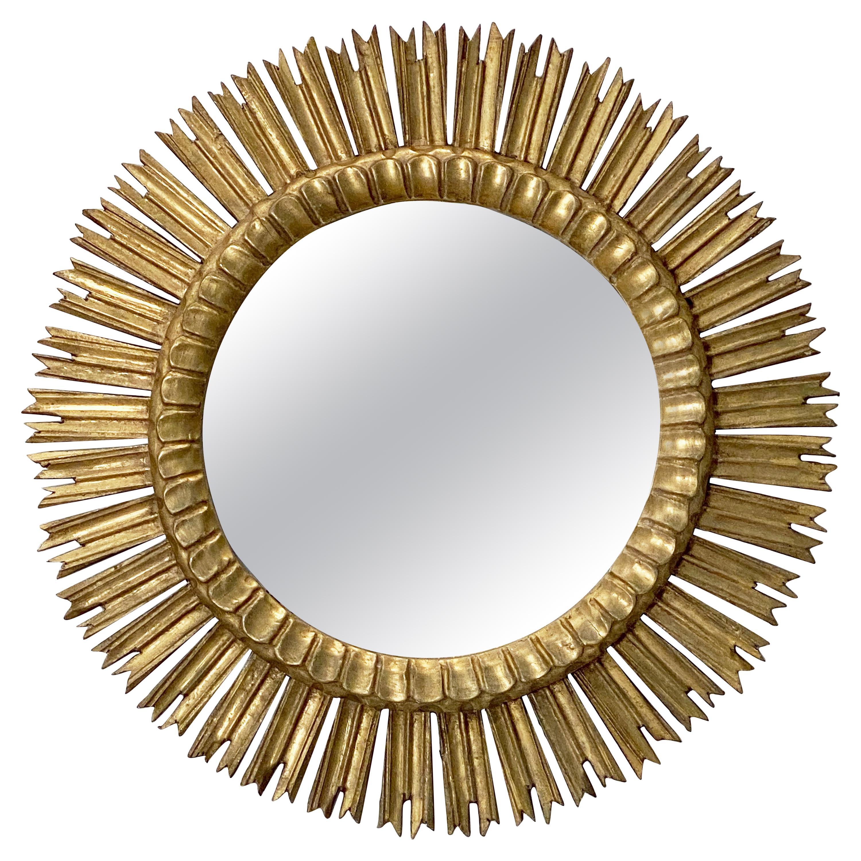Large French Gilt Starburst or Sunburst Mirror (Dia 25 1/2)