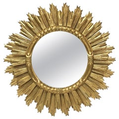 Large French Gilt Starburst or Sunburst Mirror (Diameter 29)