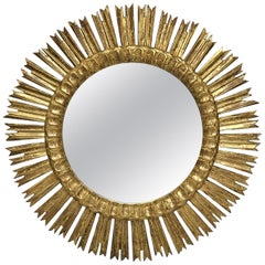 Large French Gilt Starburst or Sunburst Mirror (Diameter 24 1/2)