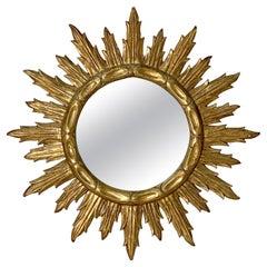 Large French Gilt Sunburst or Starburst Mirror