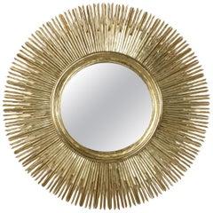 Large French Giltwood Sunburst Mirror, Gold Leaf Over Mahogany