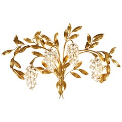Large French Gold Leaf 'Wisteria' Flower Wall Light