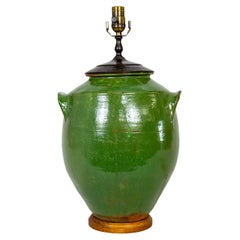 Large French Green Glazed Earthenware Jar Lamp