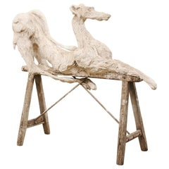Large French Greyhound Sculpture Poised on Sawhorse Leg Base