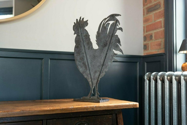 20th Century Large French Hand Painted Decorative Cockerel For Sale