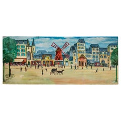 Large French Hand Painted Trompe-l'oeil of the Moulin Rouge