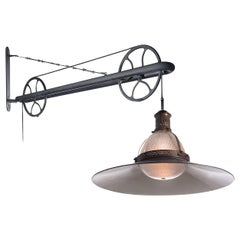 Large French Holophane Pulley Lamp