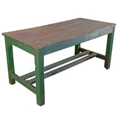 Large French Industrial Wooden Table with Green Paint