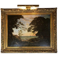 Large French Late 19th Century Seascape Painting with Original Giltwood Frame