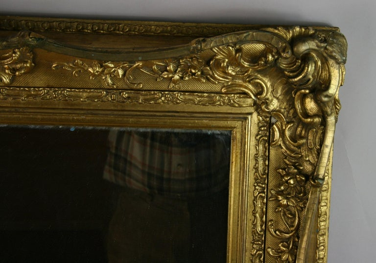 Large French Late 19th Century Wood Gilt Mirror In Excellent Condition For Sale In Douglas Manor, NY