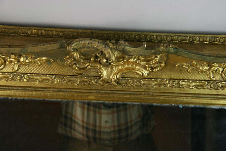 Giltwood Large French Late 19th Century Wood Gilt Mirror For Sale
