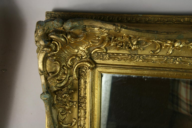 Large French Late 19th Century Wood Gilt Mirror For Sale 1