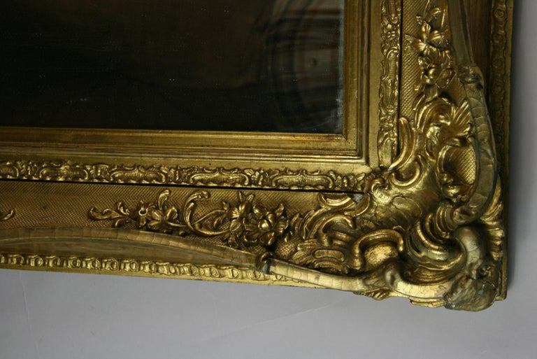 Large French Late 19th Century Wood Gilt Mirror For Sale 4