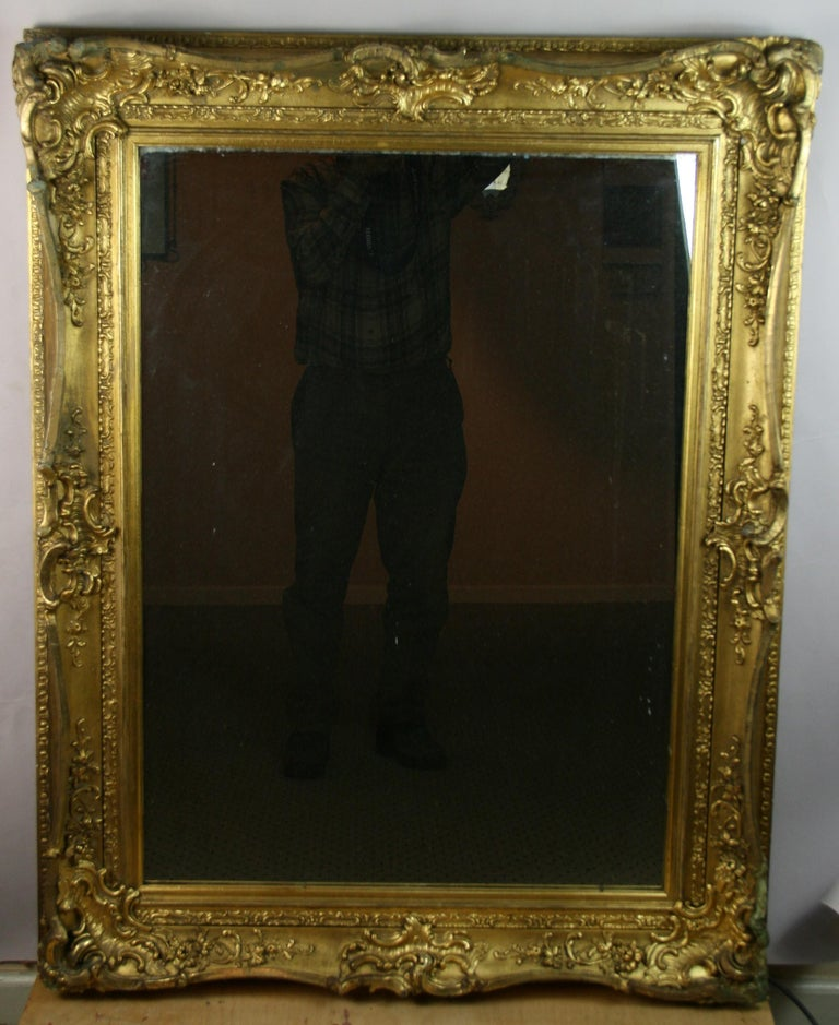 Large French Late 19th Century Wood Gilt Mirror For Sale 5