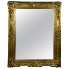 Large French Late 19th Century Wood Gilt Mirror
