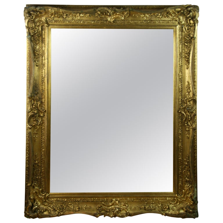 Large French Late 19th Century Wood Gilt Mirror For Sale