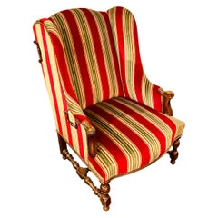 Large French Louis XIII Wingback Armchair, with Headrests, 18th-Century