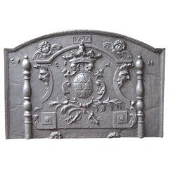 Large French Louis XIV 'Coat of Arms' Fireback, 18th Century
