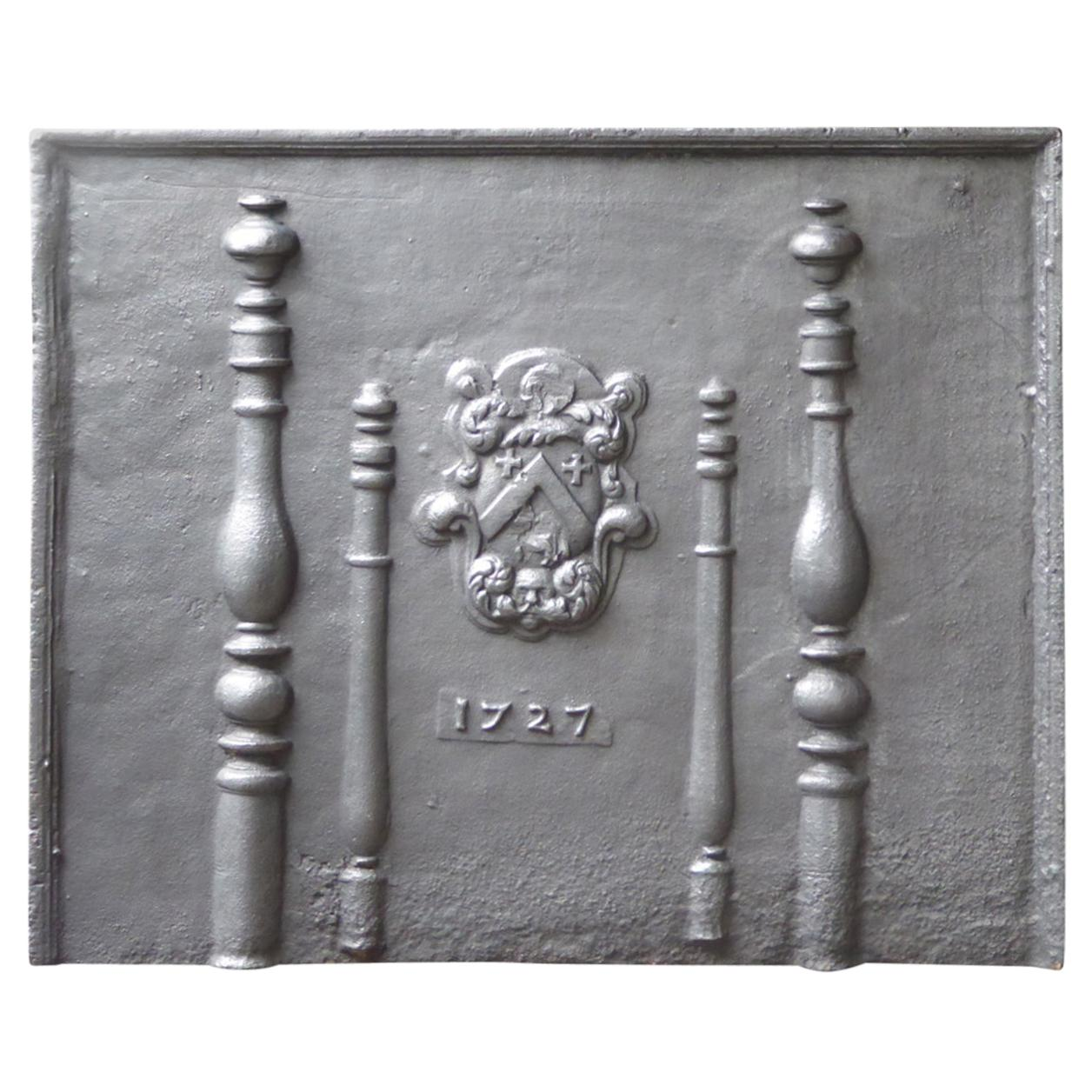 Large French Louis XIV Coat of Arms Fireback, Early 18th Century