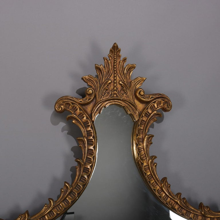 Large French Louis XV Giltwood Shaped and Foliate Wall Mirror, circa 1930 In Good Condition For Sale In Big Flats, NY