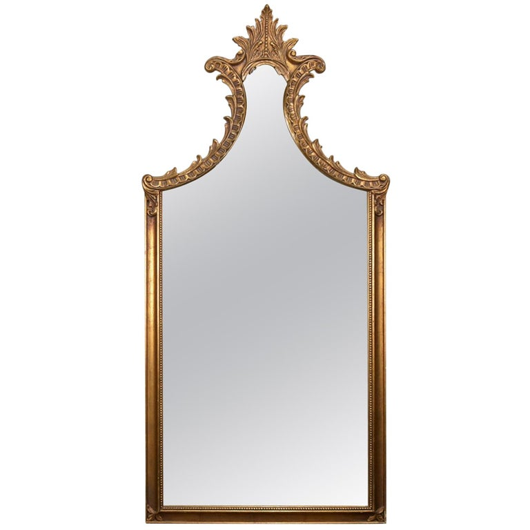 Large French Louis XV Giltwood Shaped and Foliate Wall Mirror, circa 1930 For Sale