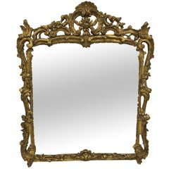 Large French Louis XV Mirror with Carved Wood and Gilded Frame